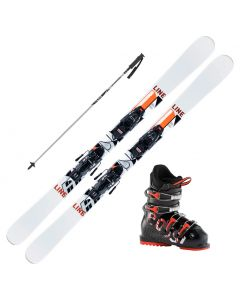 2021 Line Wallisch Shorty Jr Fastrak Skis w/ Rossignol Comp J Boot and Poles