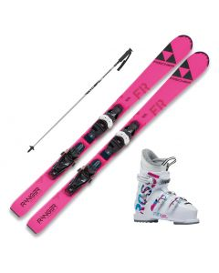 2021 Fischer Ranger FR Jr. Skis w/ Rossignol Fun Girl Boots and Poles