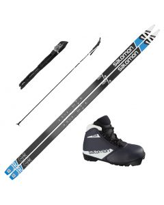 2021 Salomon Aero Junior Grip XC Skis w/ Salomon Team Prolink Jr Boot and Poles