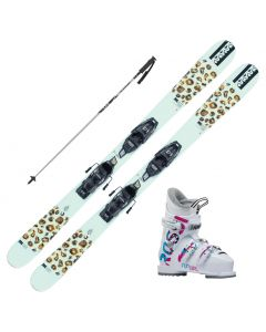 2021 K2 Jr Missy Fastrak Skis w/ Rossignol Fun Girl Boots and Poles