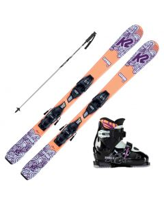 2021 K2 Girls Luv Bug Fastrak Skis w/ K2 Luv Bug Boots and Poles