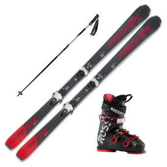 2021 Fischer RC Fire SLR Pro Skis w/ Rossignol Evo 70 Boots and Poles